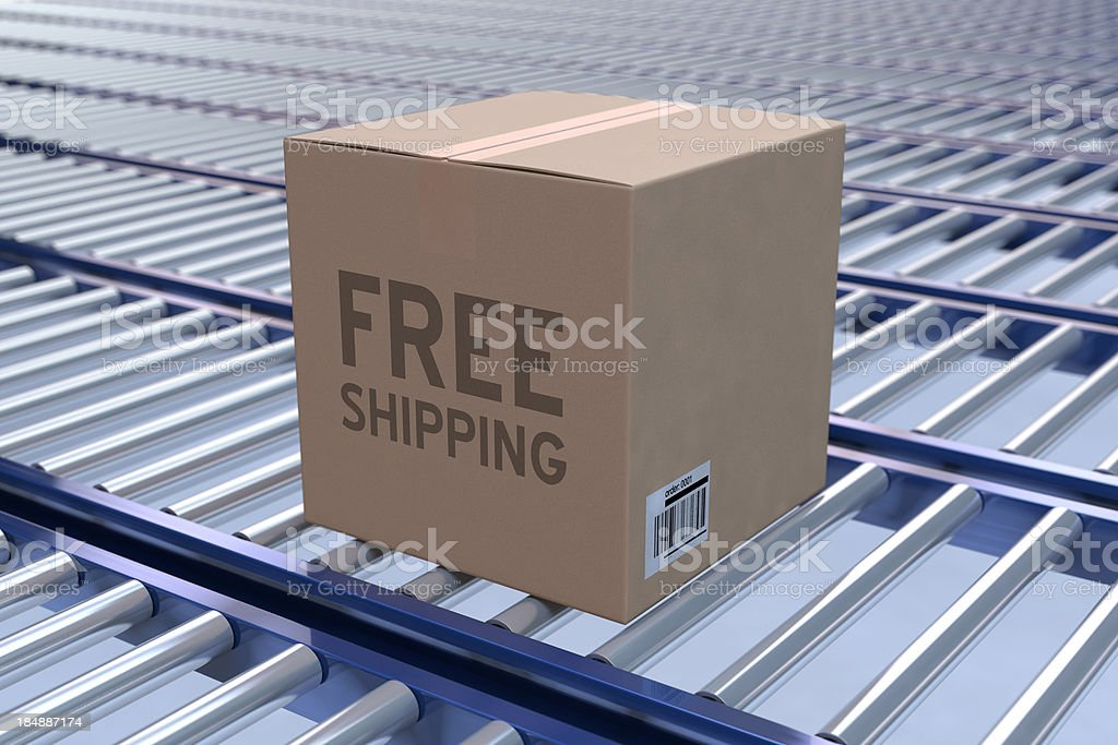 Box on a Conveyer Belt royalty-free stock photo