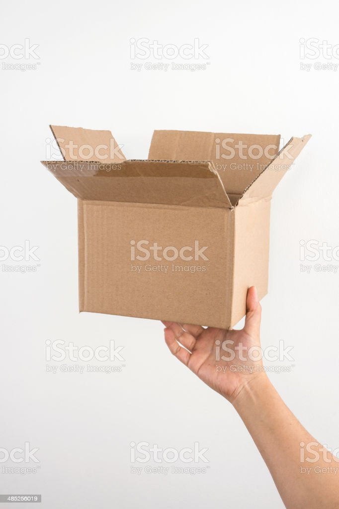 Box on Hand , isolated on white stock photo