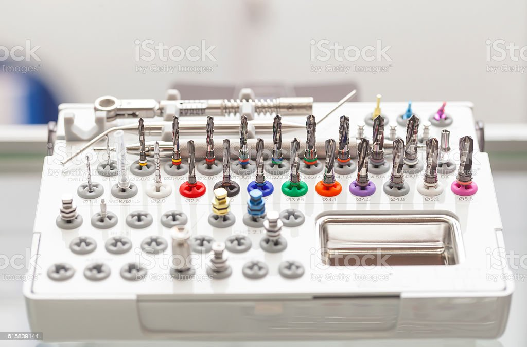 Box set of tools drills dental prosthetist stock photo