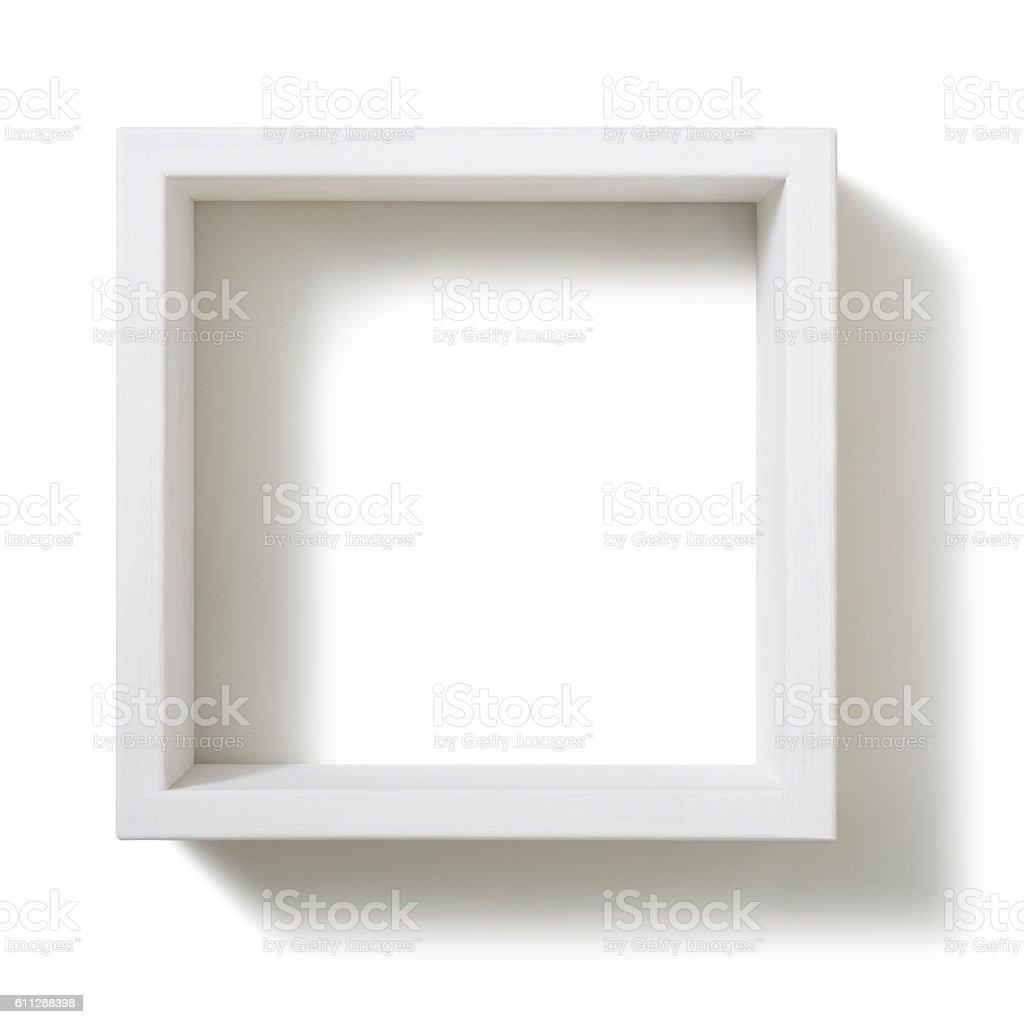 Box shelf isolated on white background stock photo