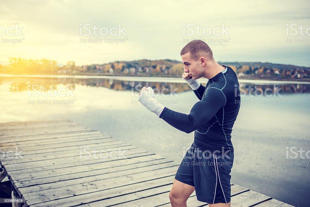 Box training outdoors stock photo