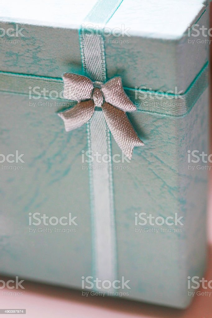 Box with a bow stock photo