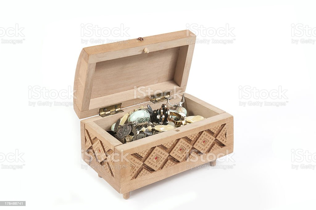 Box with a variety of jewelry royalty-free stock photo