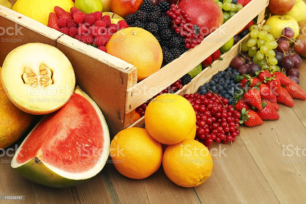 Box with assorted fruits royalty-free stock photo