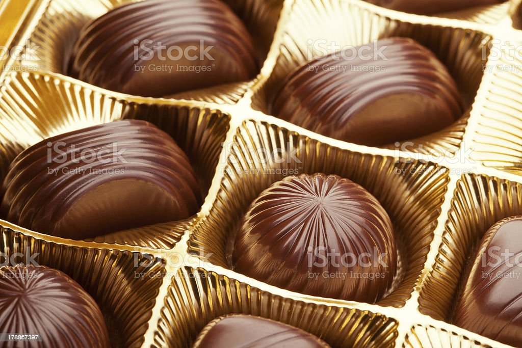 Box with chocolate pralines royalty-free stock photo