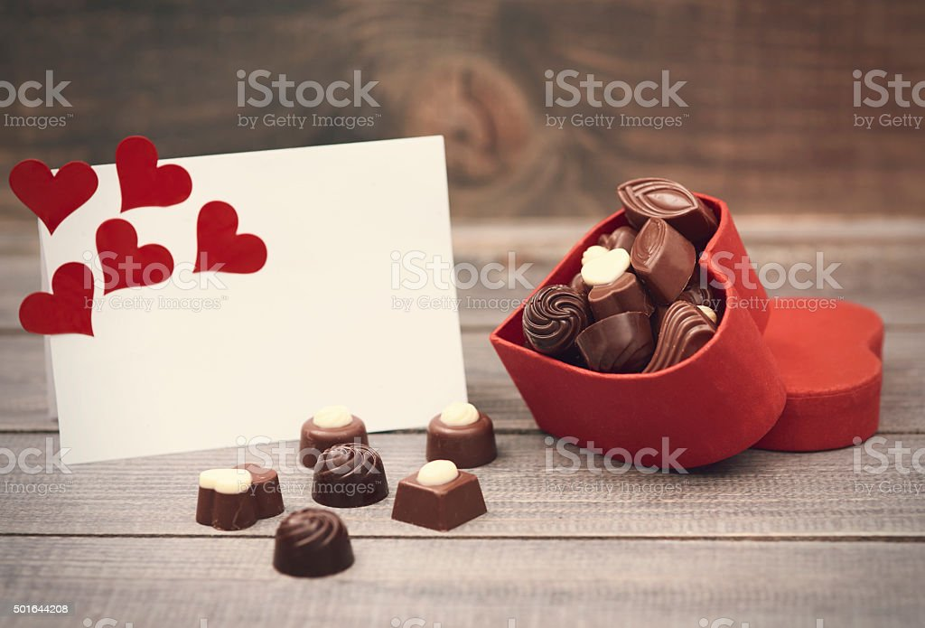 Box with chocolates is for you stock photo