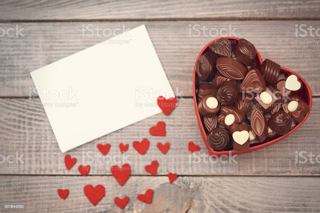 Box with chocolates on Valentine's day stock photo