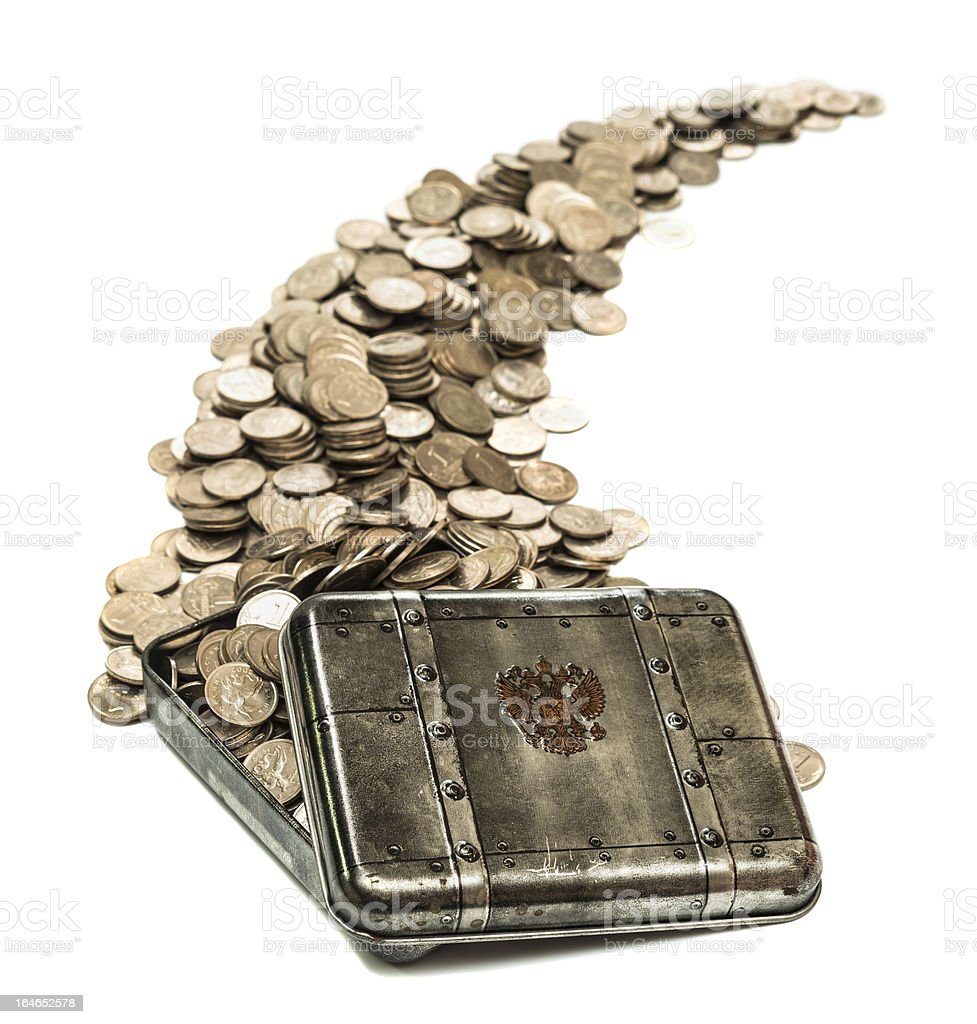 box with coins royalty-free stock photo
