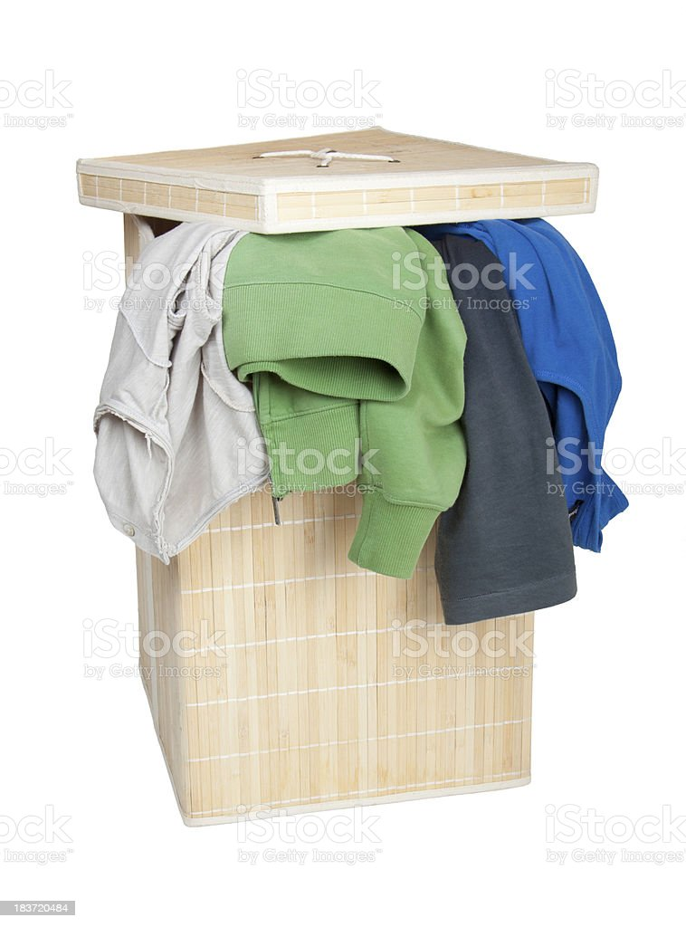 Box with Dirty Laundry royalty-free stock photo