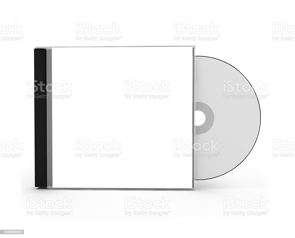 CD Box with disc on white background stock photo