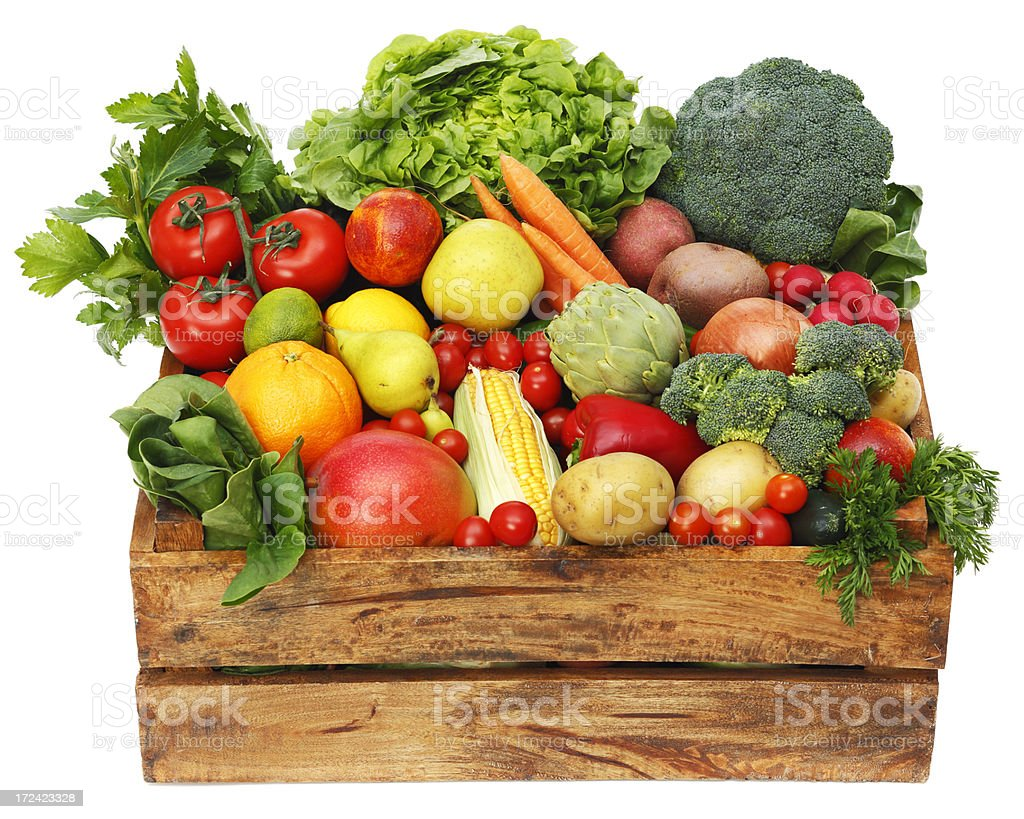 Box with fruits and vegetables royalty-free stock photo
