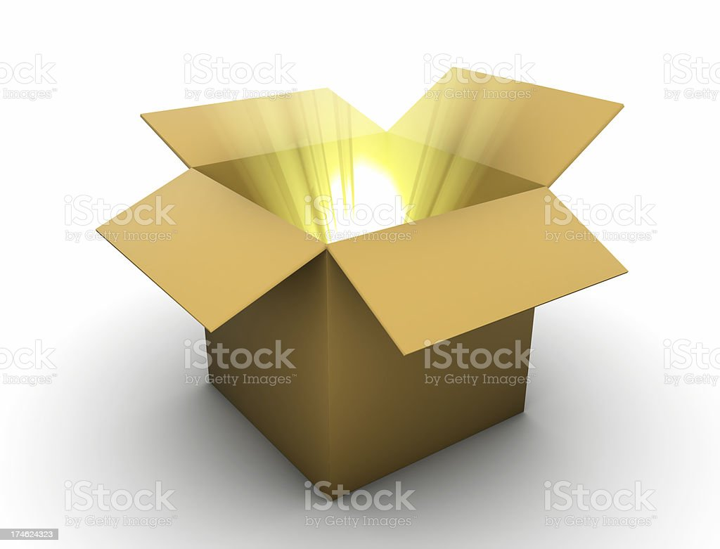 Box with golden lightbeams stock photo
