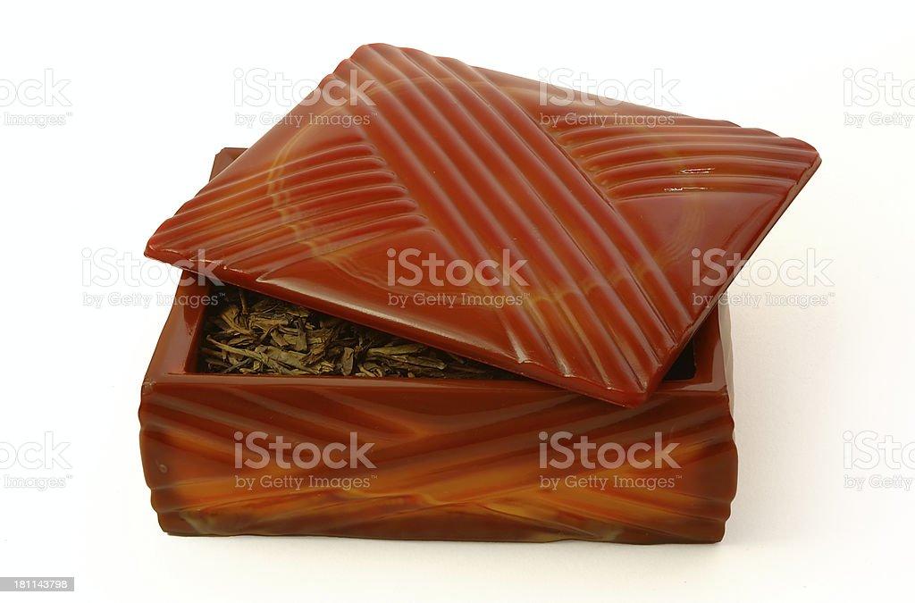 Box with green tea stock photo