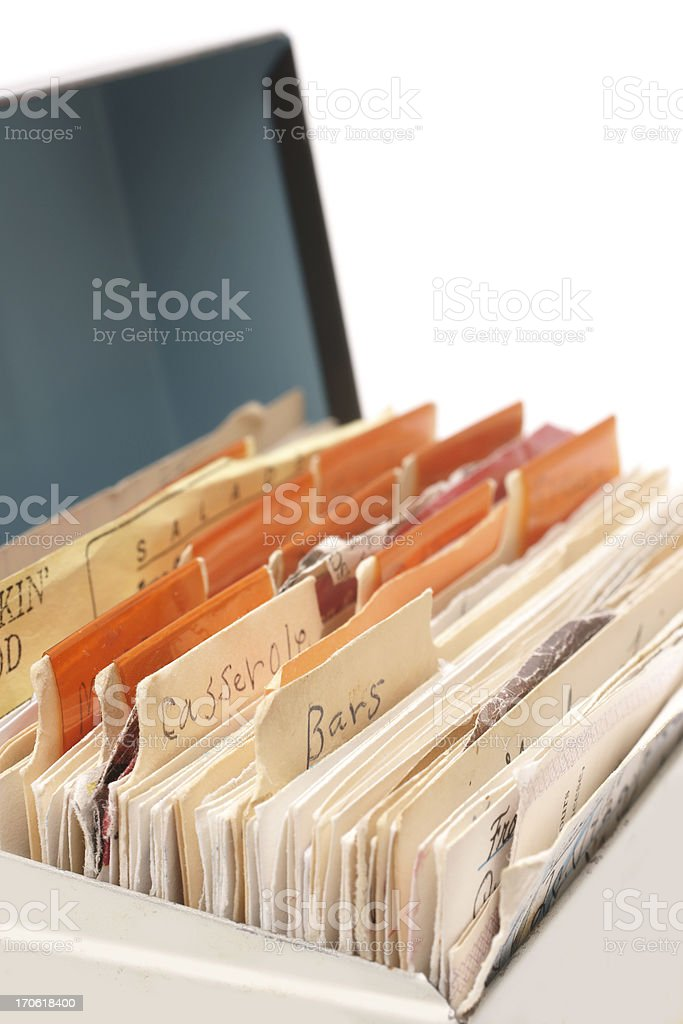 Box with handwritten recipe cards stock photo