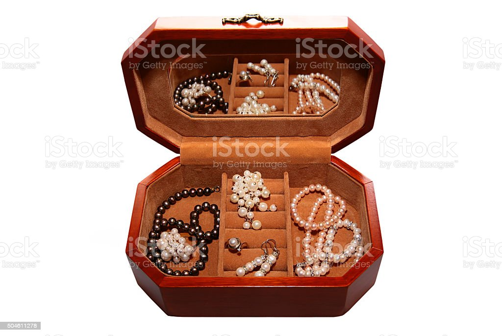 Box with jewels isolated on white background stock photo