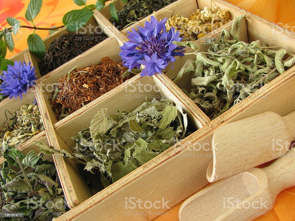 Box with loose tea types royalty-free stock photo