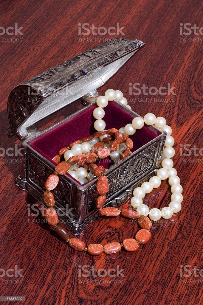 Box with necklaces stock photo