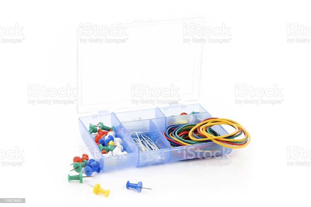 box with paperclips and rubber royalty-free stock photo