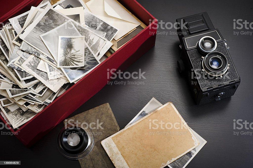 Box with photos stock photo