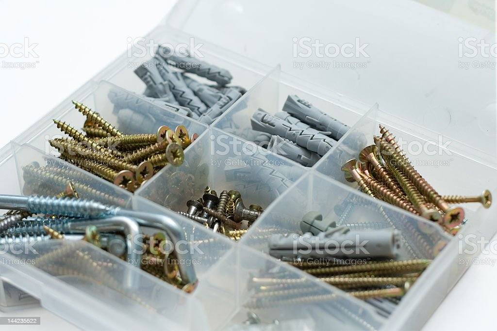 Box with screws royalty-free stock photo
