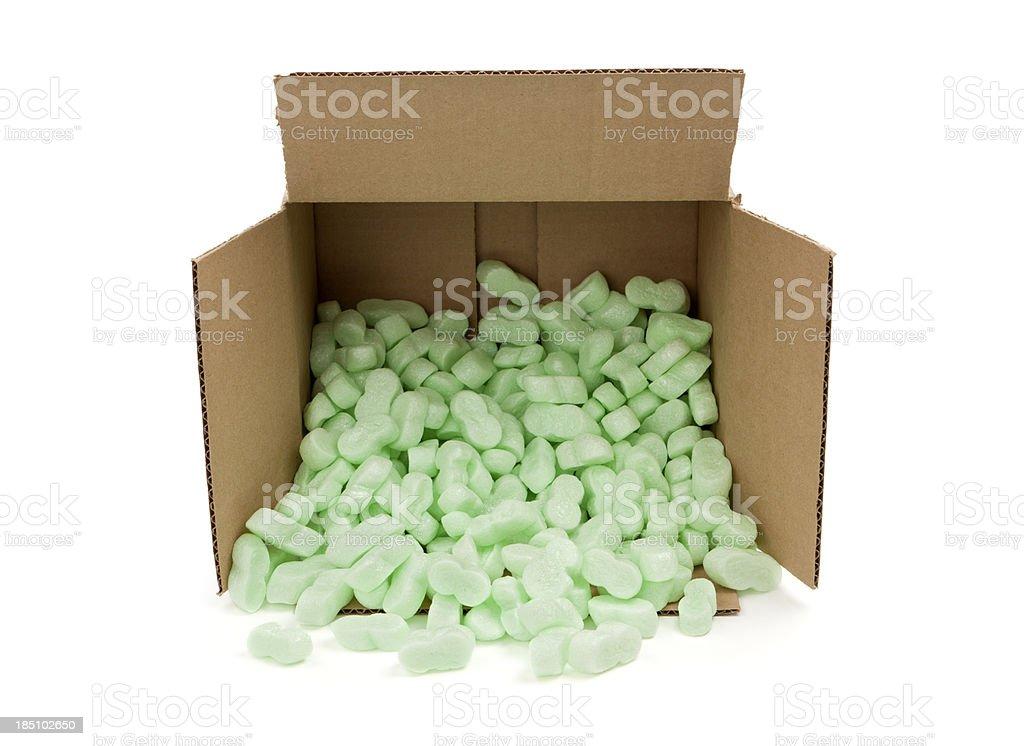 Box with Shipping Peanuts stock photo