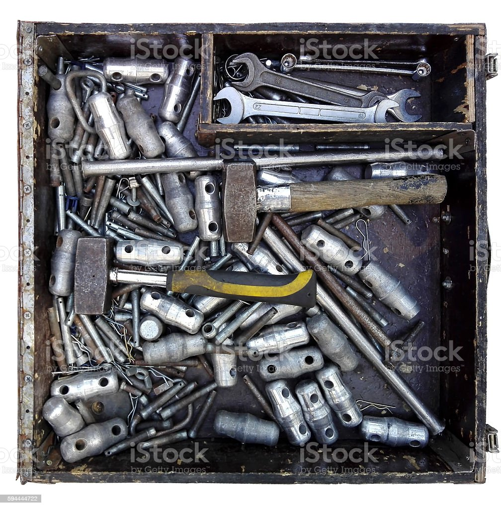 box with various tools stock photo