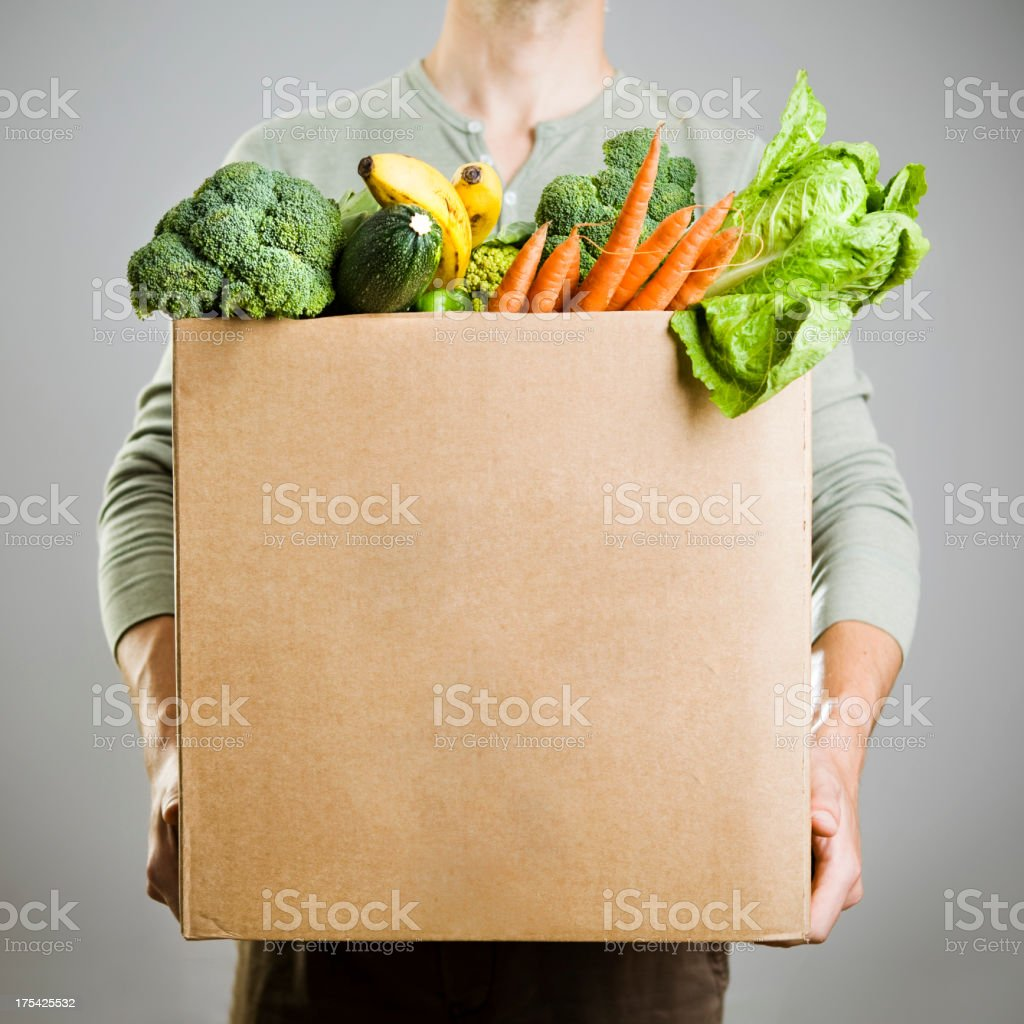 Box with vegetables stock photo