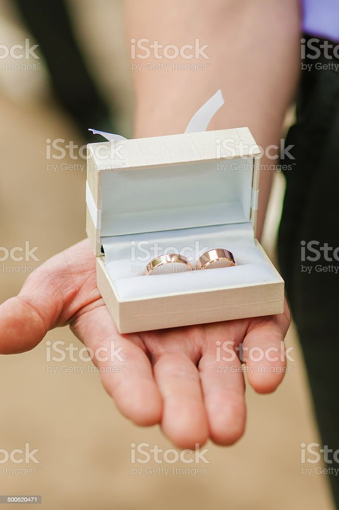 Box with wedding rings in hands royalty-free stock photo