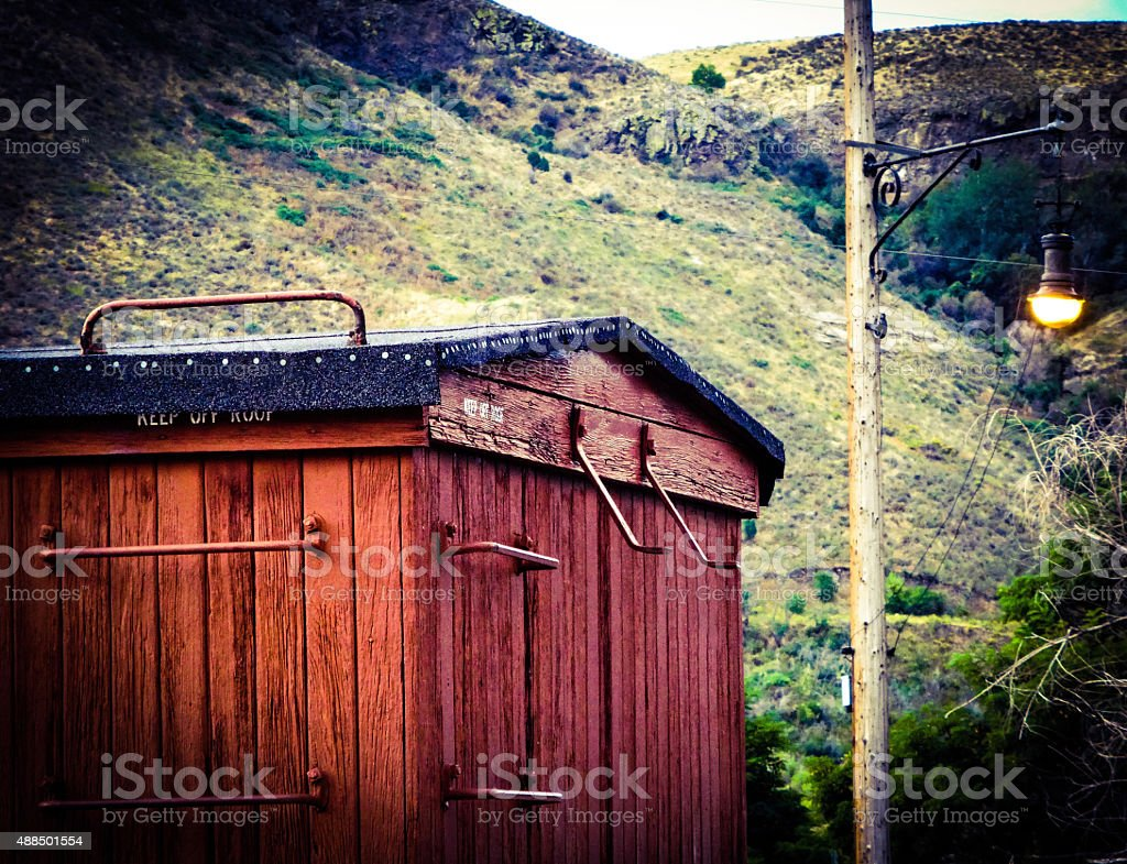 Boxcar in the Mountains stock photo