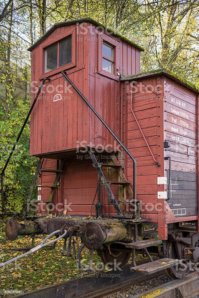 Boxcar with brakeman's cabin stock photo