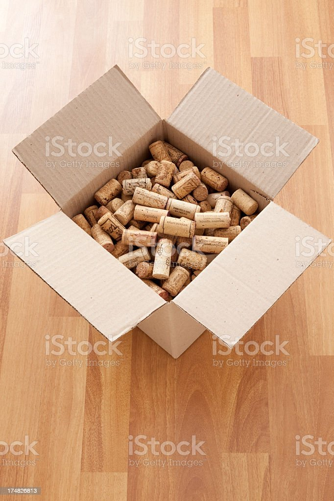 Boxed argentinian corks royalty-free stock photo