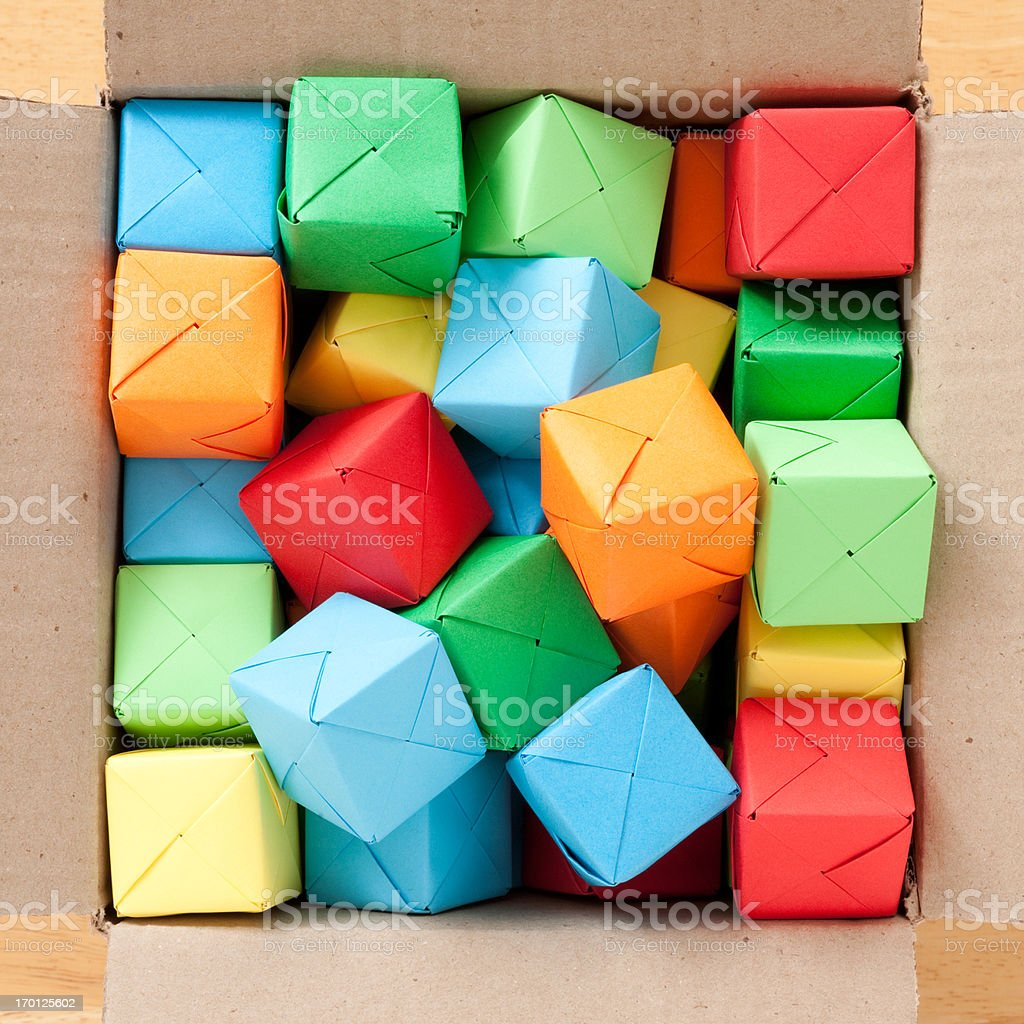 Boxed multicolored cubes royalty-free stock photo