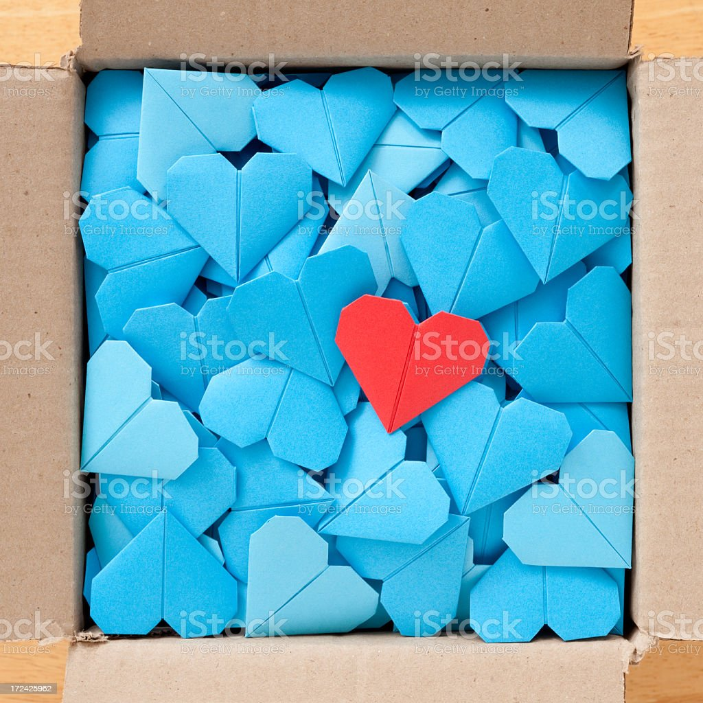 Boxed paper hearts royalty-free stock photo