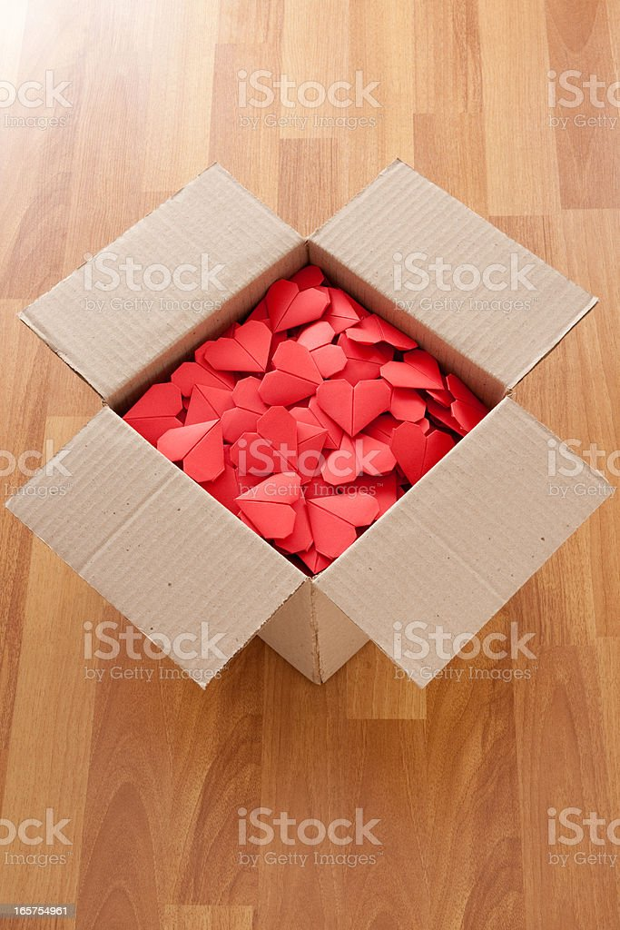 Boxed red hearts royalty-free stock photo