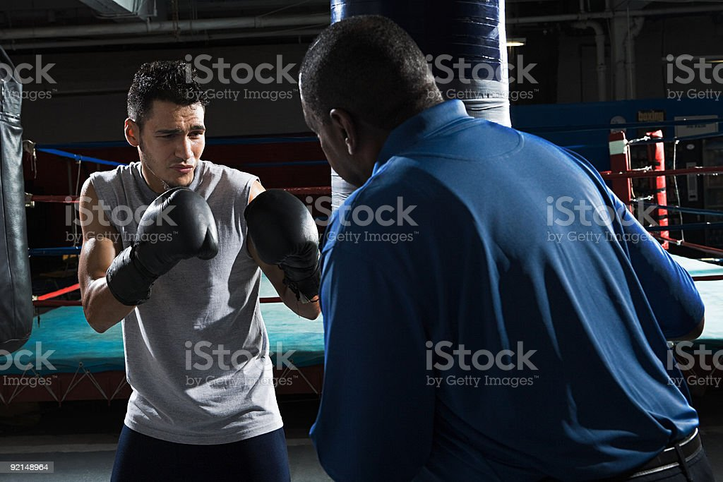 Boxer and coach royalty-free stock photo