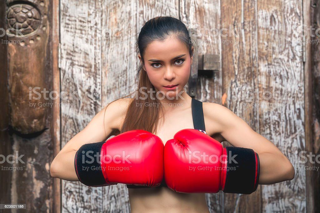 Boxer asia woman with boxing gloves stock photo