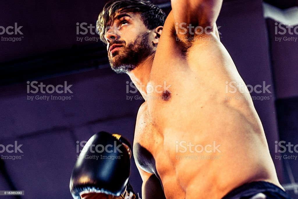 Boxer Attempting to Strike His Oponent. stock photo