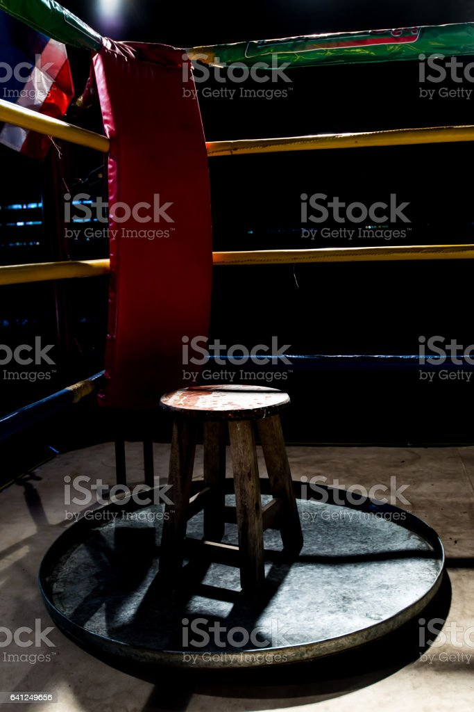 Boxer corner in fight club for boxer waiting drinking water between fight round stock photo