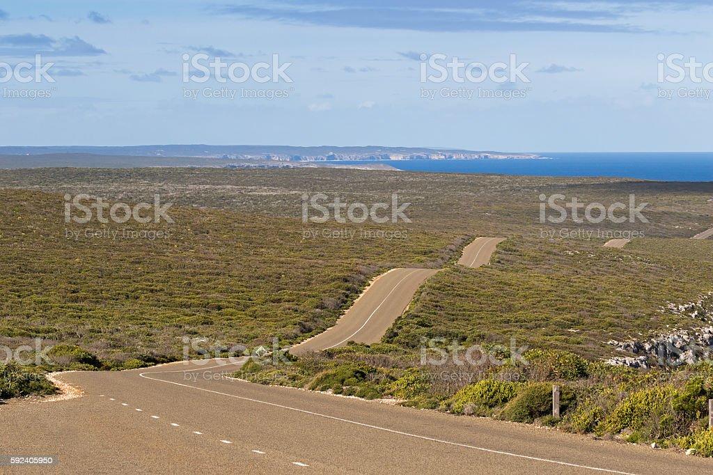 Boxer Drive, windy wavy roadway on Kangaroo Island, South Australia stock photo