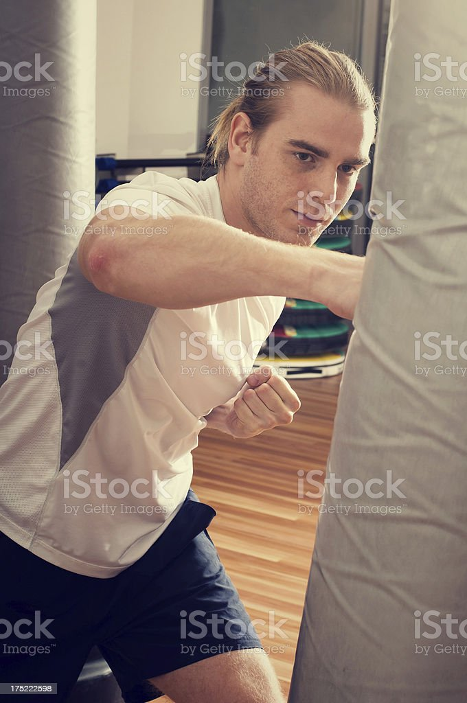 A boxer during a training session royalty-free stock photo