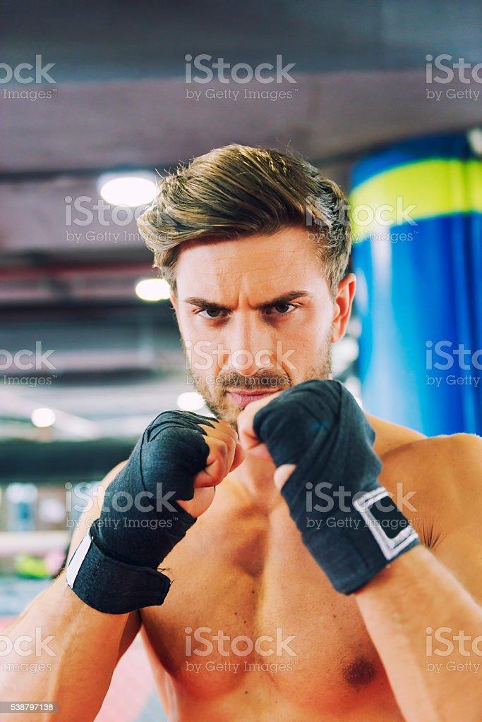 Boxer fighter portrait stock photo