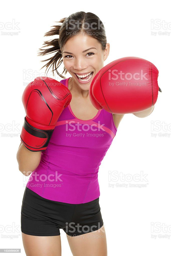 Boxer - fitness woman boxing stock photo