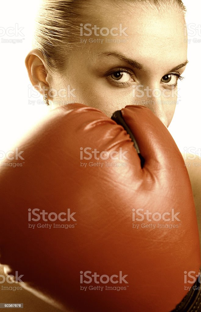 Boxer girl in red gloves royalty-free stock photo