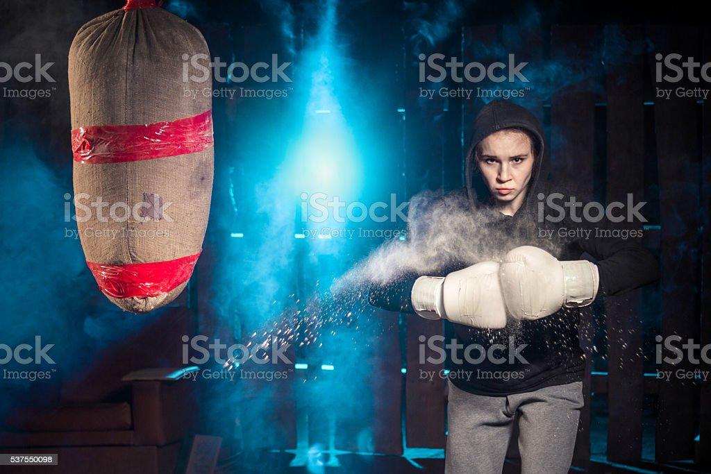 Boxer Girl Street Teen stock photo