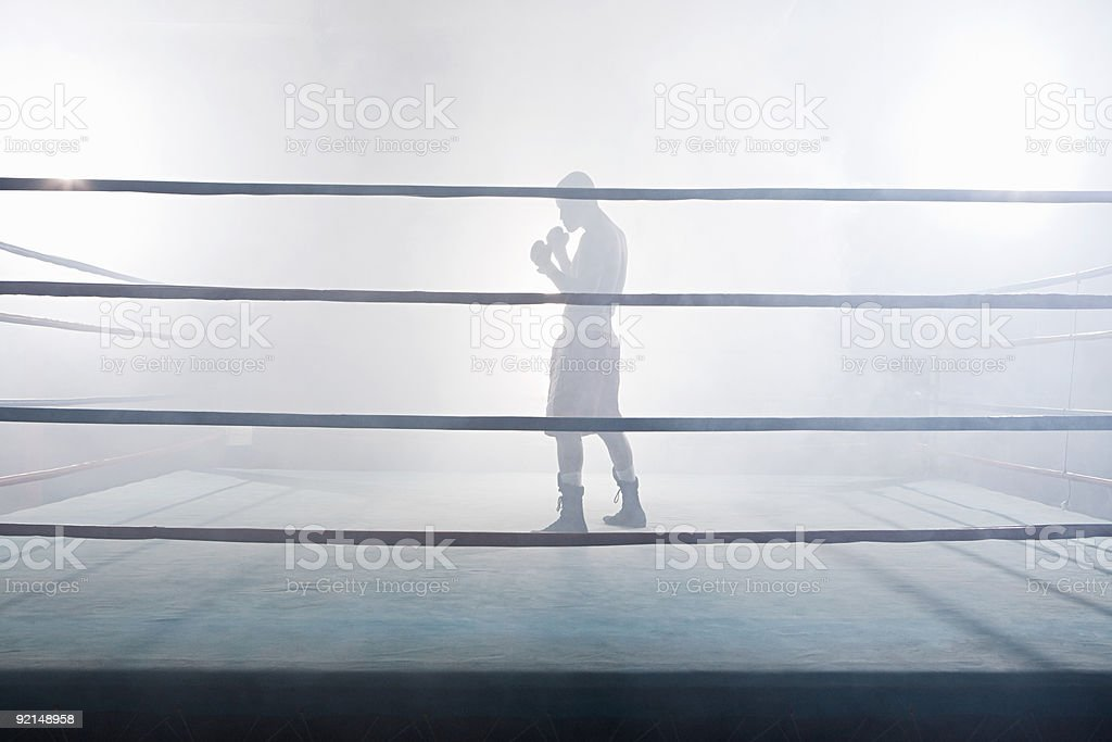 Boxer in boxing ring stock photo