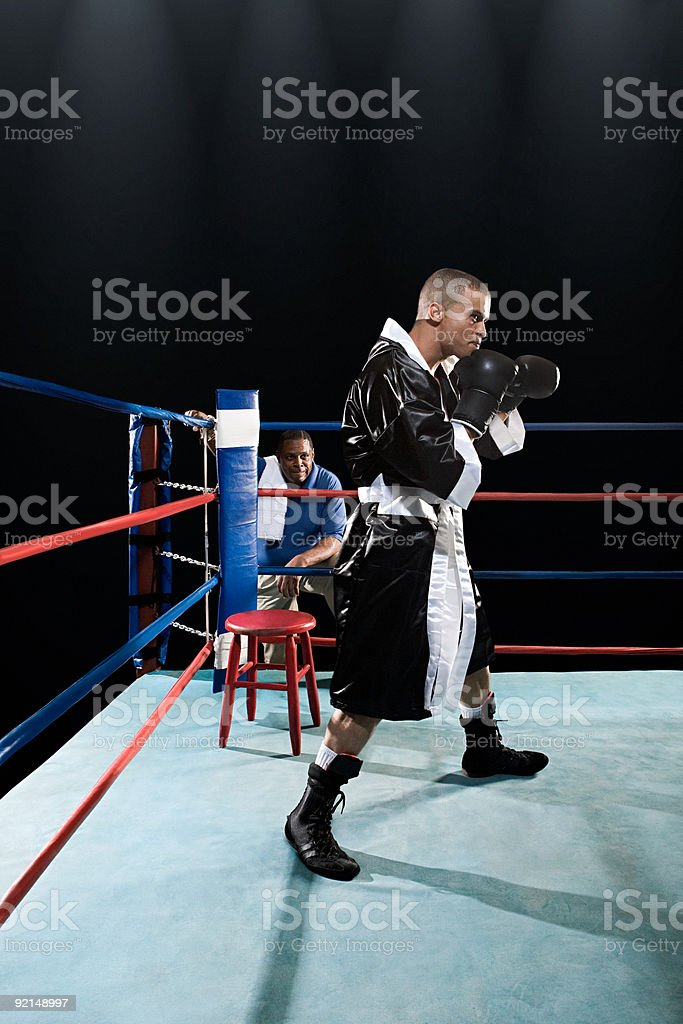 Boxer in boxing ring royalty-free stock photo