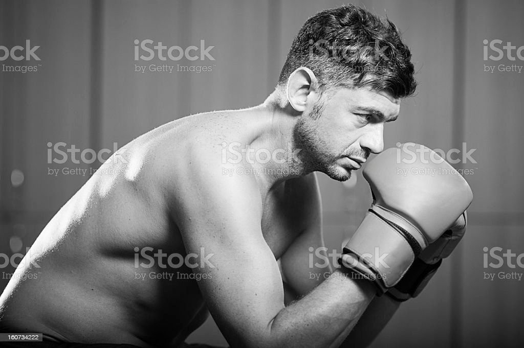 Boxer in the Locker Room royalty-free stock photo