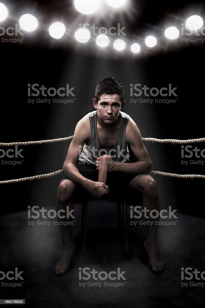 Boxer in the ring stock photo