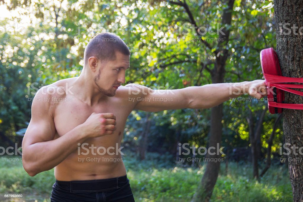 Boxer man in the open air stock photo