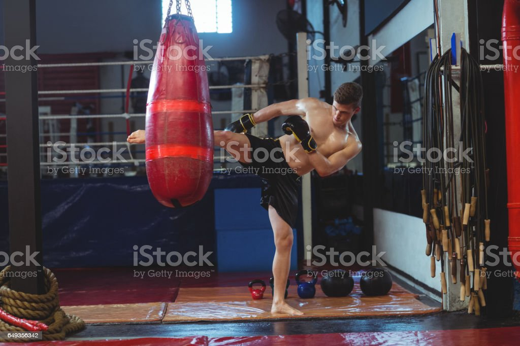 Boxer practicing boxing with punching bag stock photo